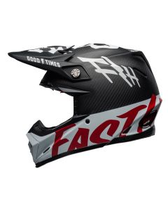 Fasthouse Fast Tribe / Bell Moto 9 Flex Helmet Black/White/Red